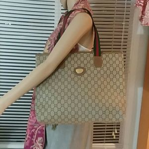 Auth Vintage Gucci GG Monogram Brown Tote Bag
